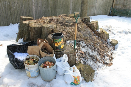 My pile is made of many things, like all these ingredients stockpiled through a winter storm and about to be added to the mix.
