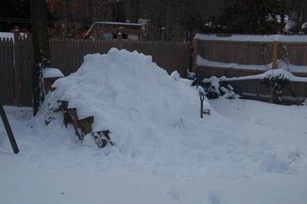 Heaping my pile with more snow.