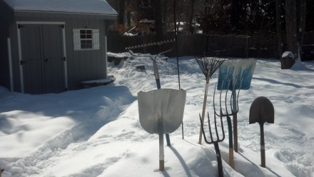The lineup of composting tools, ready for spring.