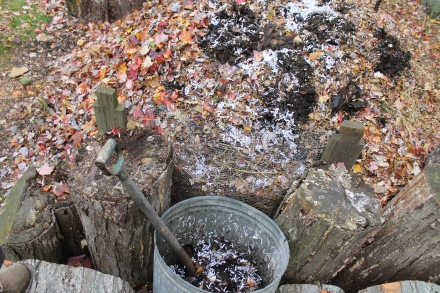 "This ""compost in a can,"" held in reserve until I had enough leaves to absorb it, will kickstart my pile."