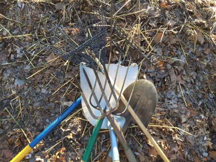Some of the tools I use to tend to my pile. The pitchforks are the go-to implements.
