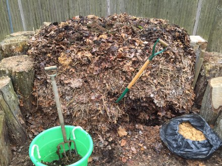 I borrow leaves from the front slope of my pile to build up the top and create a nearly vertical wall made of dried, compressed leaves.