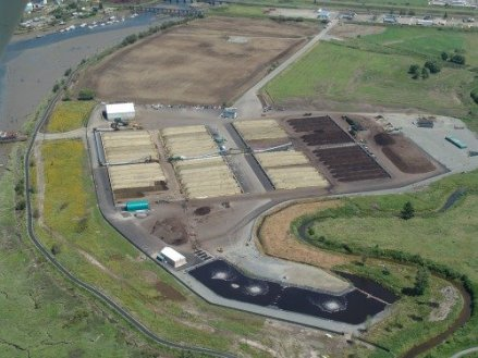 An aerial view of one of Dedar Grove's composting facilities outside of Seattle, Washington.