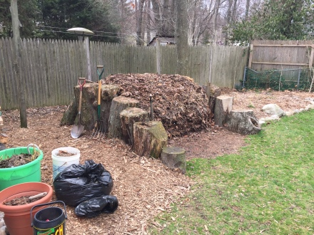 """Despite adding volumes of compostibles to my """"log cabin"""" pile throughout the winter, as the spring season begins, it is a condensed, compressed stack of organics in need of a good """"airing out."""""""